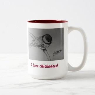 """""""私は《鳥》アメリカゴガラ""""のマグ愛します ツートーンマグカップ"""