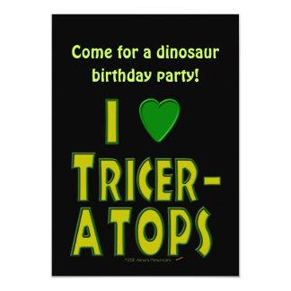 私は(Iのハートの)トリケラトプスの恐竜の緑を愛します カード