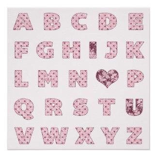 私は| Iの♥ Uのピンクのグリッターのアルファベットのバレンタイン愛します ポスター