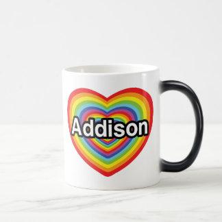 私はAddisonの虹のハートを愛します モーフィングマグカップ