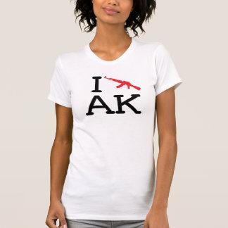 私はAK -カラシニコフ自動小銃-を女性小柄いスタイル愛します Tシャツ