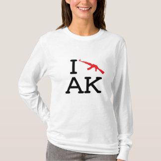 私はAK -カラシニコフ自動小銃-を女性長袖愛します Tシャツ