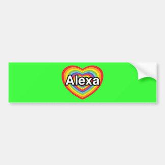 私はAlexaの虹のハートを愛します バンパーステッカー