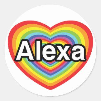 私はAlexaの虹のハートを愛します ラウンドシール