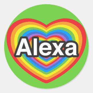 私はAlexaを愛します。 私はAlexa愛します。 ハート ラウンドシール