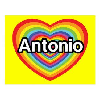私はAntonioの虹のハートを愛します ポストカード