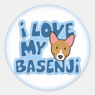 私はBasenjiの私のステッカーを愛します ラウンドシール