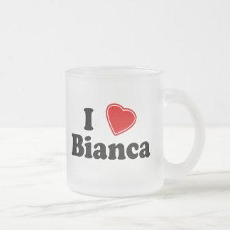 私はBiancaを愛します フロストグラスマグカップ