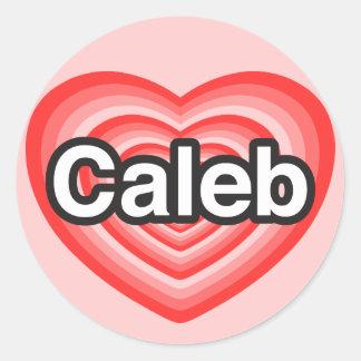 私はCalebを愛します。 私はCaleb愛します。 ハート ラウンドシール