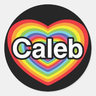 私はCalebを愛します: 虹のハート ラウンドシール