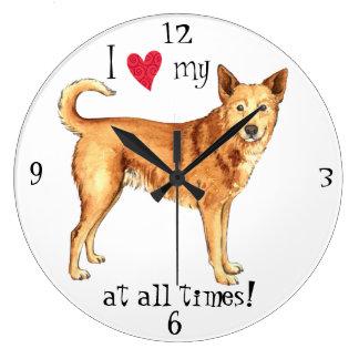 私はCanaan私の犬を愛します ラージ壁時計