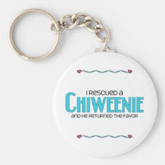 私はChiweenie (男性)犬の採用のデザインを救助しました キーホルダー
