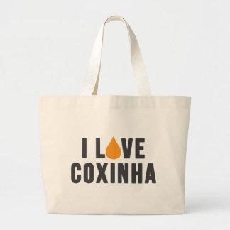 """""""私はCoxinha""""のTシャツ愛します ラージトートバッグ"""