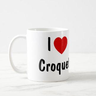 私はCroquetを愛します コーヒーマグカップ