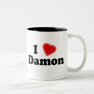 私はDamonを愛します ツートーンマグカップ