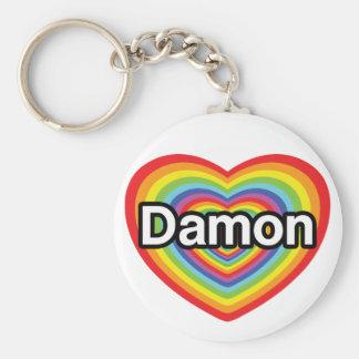 私はDamonを愛します: 虹のハート キーホルダー
