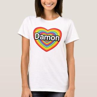 私はDamonを愛します: 虹のハート Tシャツ