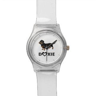 私はDoxiesを-かわいい黒およびタンのダックスフント愛します 腕時計