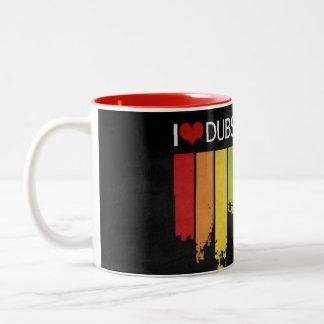 私はDubstepのマグを愛します ツートーンマグカップ
