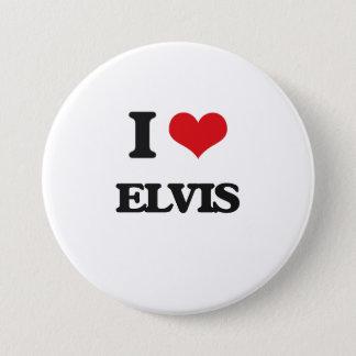 私はElvisを愛します 7.6cm 丸型バッジ