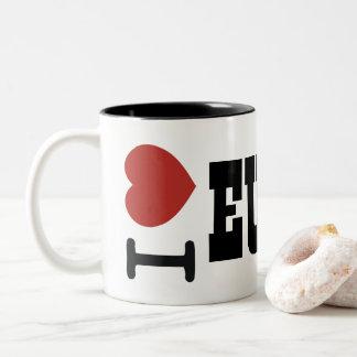 私はEuchreのマグを愛します ツートーンマグカップ