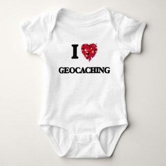 私はGeocachingを愛します ベビーボディスーツ