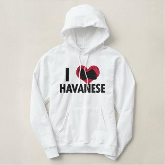 私はHavaneseを愛します 刺繍入りパーカ