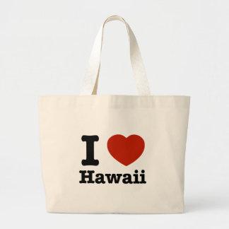 私はHawaiを愛します ラージトートバッグ