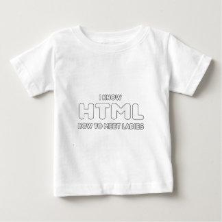 私はHTMLを女性に会う方法を-知っています ベビーTシャツ