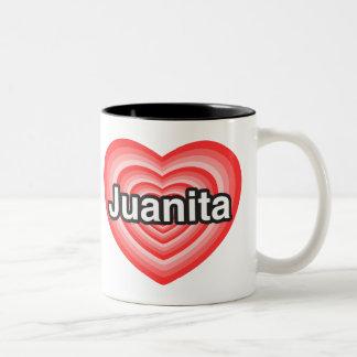 私はJuanitaを愛します。 私はJuanita愛します。 ハート ツートーンマグカップ
