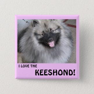 私はKEESHONDを愛します 5.1CM 正方形バッジ
