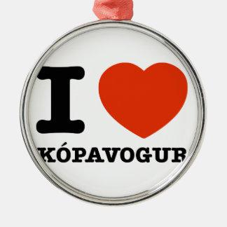 私はKopavogurを愛します シルバーカラー丸型オーナメント