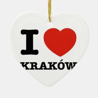 私はKrakówを愛します セラミックオーナメント