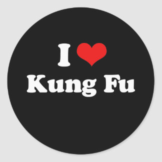 私はKung FuのTシャツを愛します ラウンドシール