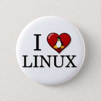 私はLinuxボタンを愛します 5.7cm 丸型バッジ
