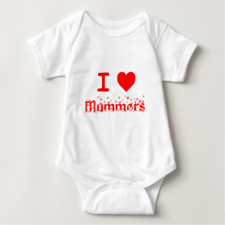 私はMUMMERSを愛します ベビーボディスーツ