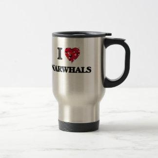 私はNarwhalsを愛します トラベルマグ