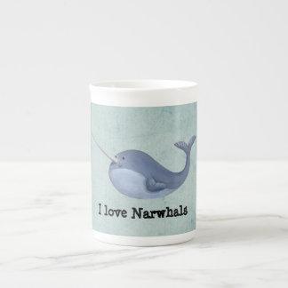 私はNarwhalsを愛します ボーンチャイナカップ