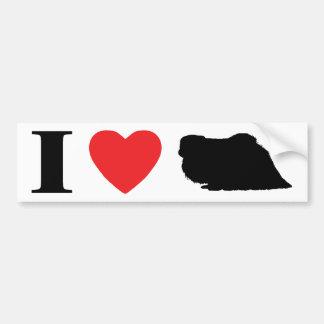 私はPekingeseのバンパーステッカーを愛します バンパーステッカー