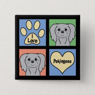 私はPekingeseを愛します 5.1cm 正方形バッジ