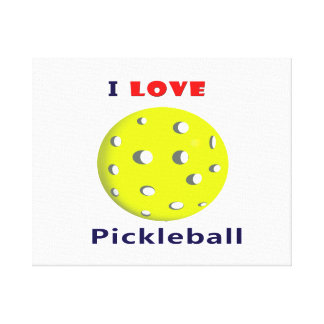私はpickleballの赤い文字のpickleball graphic.pngを愛します キャンバスプリント