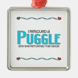 私はPuggle (女性の)犬の採用のデザインを救助しました メタルオーナメント