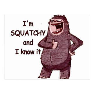 私はSQUATCHYであり、それを-ビッグフットのおもしろいなロゴ知っています ポストカード
