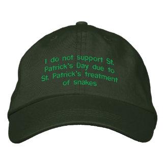 私はSt. Patrによるセントパトリックの日を支えません 刺繍入りキャップ