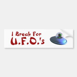 私はUFOsの(かわいい)バンパーステッカーのために壊れます バンパーステッカー