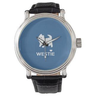 私はWestie犬-ウエスト・ハイランド・ホワイト・テリア--を愛します 腕時計
