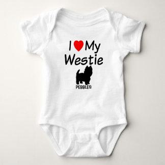 私はWestie私の犬を愛します ベビーボディスーツ