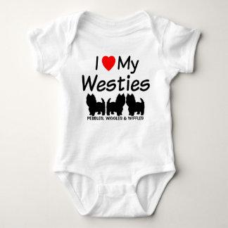私はWestie私の3匹の犬を愛します ベビーボディスーツ