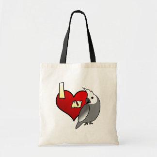 私はWhitefaceの私のCockatielを愛します トートバッグ