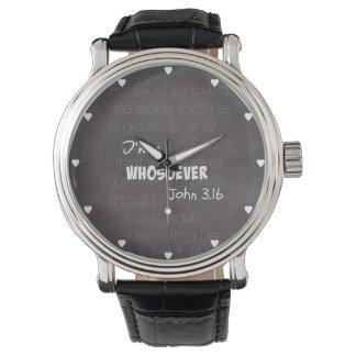 私はwhosoeverのキリスト教の引用文ジョン3.16です 腕時計